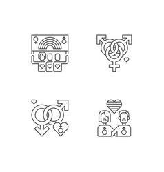 Gay marriege pixel perfect linear icons set vector