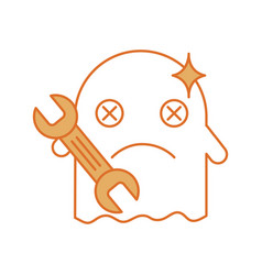 Ghost kawaii character with wrench vector