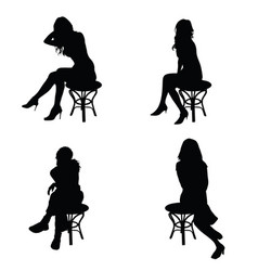 girl pose silhouette sitting on chair in black vector image