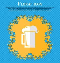 glass of beer Floral flat design on a blue vector image