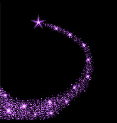 glow purple star with trail light effect vector image