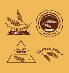 Gluten free and wheat labels Retro design vector image