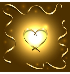 Gold silk heart with frame ribbons shiny light vector
