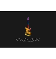 Guitar Colorful logo Rainbow guitar music logo vector image