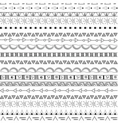 hand drawn tribal seamless pattern black on white vector image