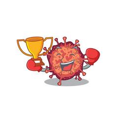 Happy face boxing winner contagious corona vector