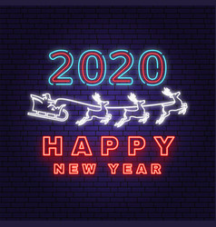 Happy new year 2020 neon sign with santa claus vector