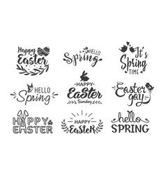 hello spring and happy easter hand drawn lettering vector image