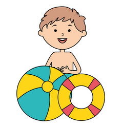 little boy with float and balloon beach vector image