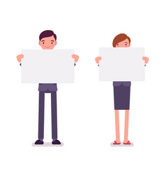 man and woman with empty white boards copy space vector image