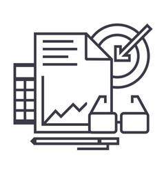 marketing analytics line icon sign vector image vector image