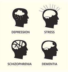 Mental disease icon set vector
