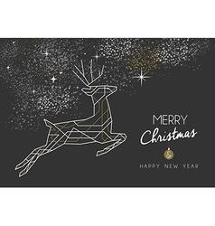 Merry christmas new year deer art deco outline vector