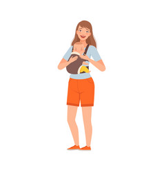 Mother hold bain kangaroo bag character vector