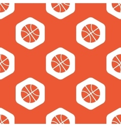 Orange hexagon basketball pattern vector