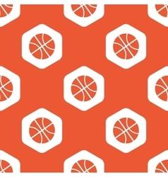 Orange hexagon basketball pattern vector image