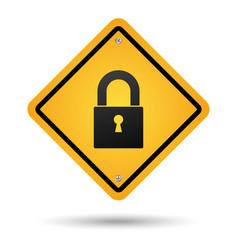 padlock road sign vector image