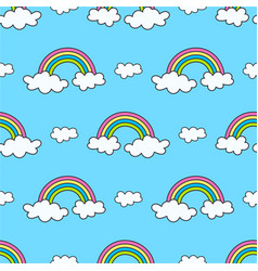 pattern with rainbows and clouds on sky vector image