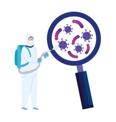 person with biohazard suit protection vector image