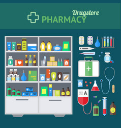 pharmacy store and element set concept vector image