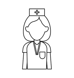 Professional nurse hat uniform medical outline vector