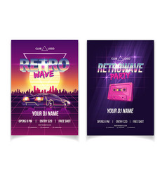 retrowave music party nightclub ad poster vector image