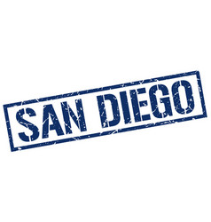 san diego blue square stamp vector image