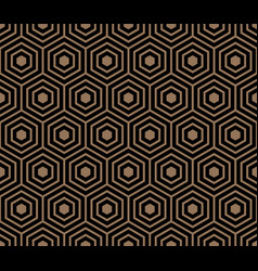 seamless pattern with black gold hexagons and vector image