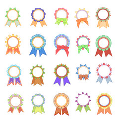 set awards ribbons icons vector image