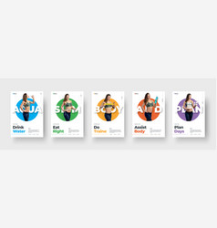 set flyers with a girl in a colored circle on vector image