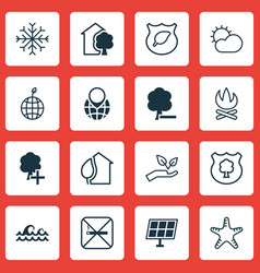 Set of 16 eco icons includes sea star bonfire vector