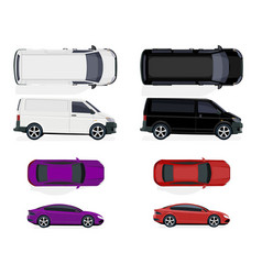 set of black and white minibus red and purple car vector image