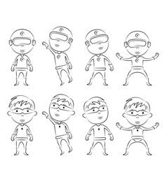 set of superheroes cartoon character outline vector image