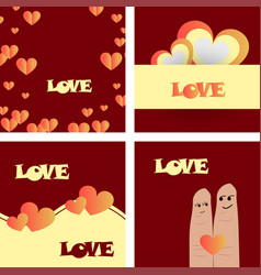 set of vintage happy valentines day badges and vector image