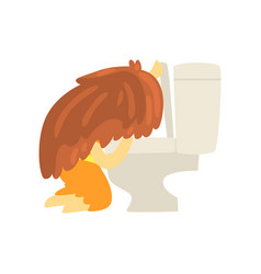 sick girl vomiting into the toilet bowl unwell vector image