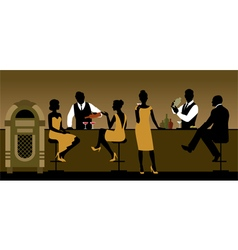 Silhouettes of a group of people drinking in a bar vector image
