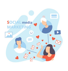 social media marketing business characters social vector image