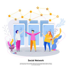 social network concept group of young people vector image