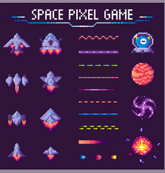 Space pixel game spaceships and planets set vector