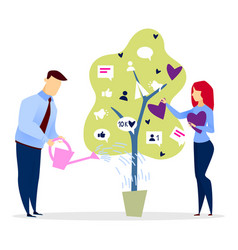 Startup concept business ideas growing on tree vector