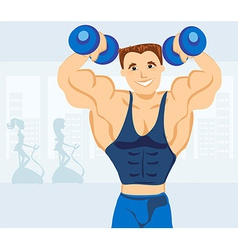 Strong man exercising in the gym vector