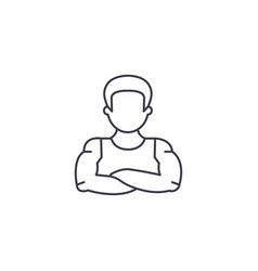 strong man line icon sign on vector image