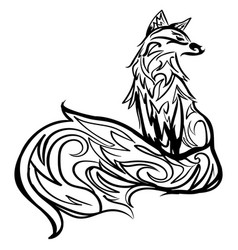 stylized fox line art black and white tattoo vector image
