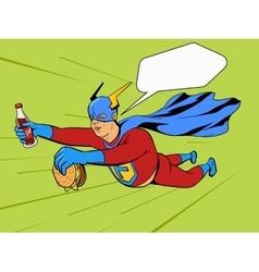Superhero fat man and burger comic book vector