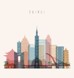 taipei skyline detailed silhouette vector image