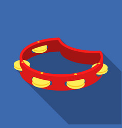 tambourine icon in flat style isolated on white vector image vector image