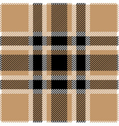 Tan and black tartan plaid seamless pattern vector
