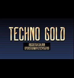 Technical high font golden condensed alphabet vector
