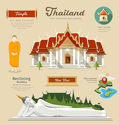 Temple and reclining Buddha with monk vector