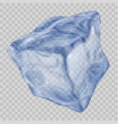 Transparent blue ice cube vector